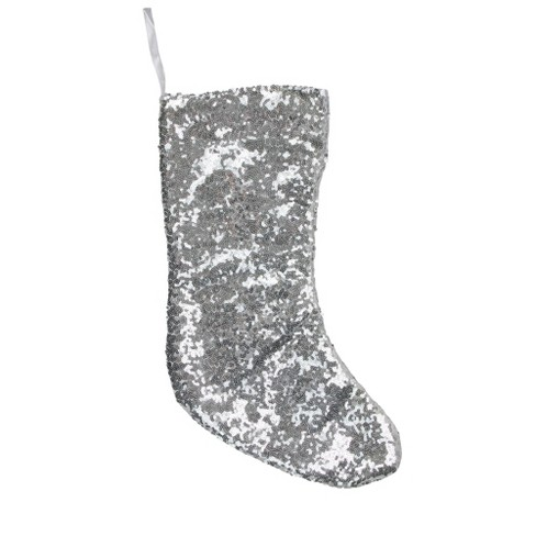 """Northlight 17.5"""" Silver Paillette Sequins Christmas Stocking - image 1 of 2"""