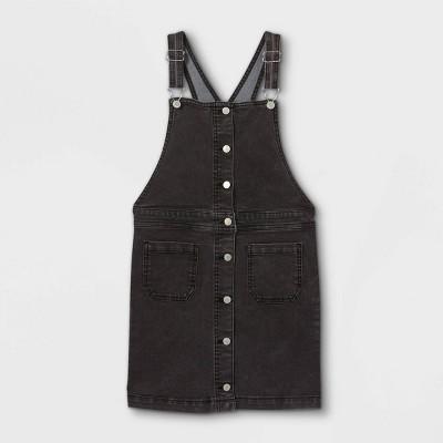 Girls' Button-Front Denim Pinafore - art class™