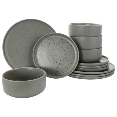Gibson Home 12pc Stoneware Stone lava Dinnerware Set Gray