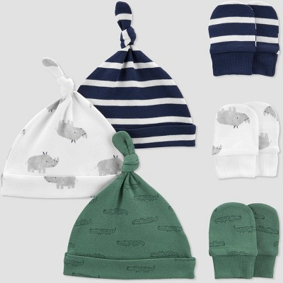 Baby Boys' 6pk Hat and Mitten Set - Just One You® made by carter's Green/Off-White/Navy