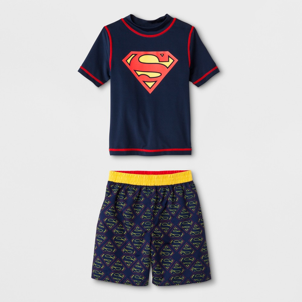 Toddler Boys' DC Comics Superman Rash Guard Set - Navy 2T, Multicolored