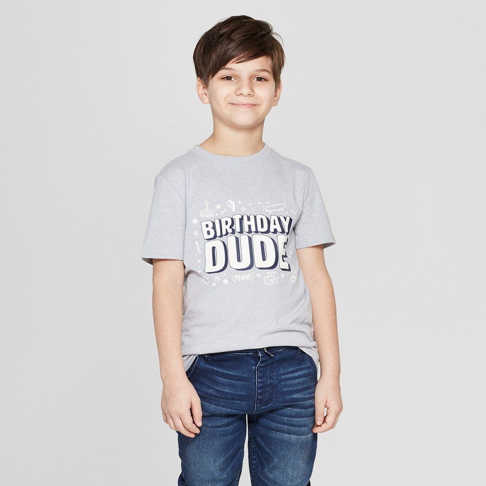Boys' Short Sleeve Birthday Dude Graphic T-Shirt - Cat & Jack Gray M