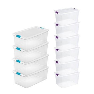 Sterilite 106 Quart Latching Storage Container (4 Pack) + 66 Quart Tote (6 Pack)