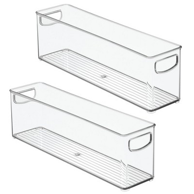 mDesign Plastic Kitchen Pantry Cabinet Food Storage with Handles, 2 Pack - Clear