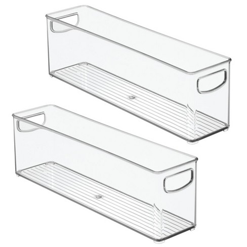 Mdesign Plastic Kitchen Pantry Cabinet Food Storage With Handles 2 Pack Clear Target