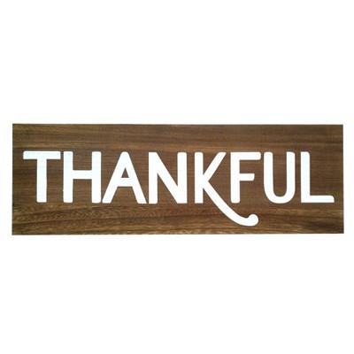 24 X8  Thankful Wood Wall Decor Brown - Threshold™