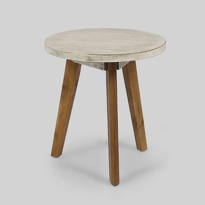 Marina Acacia Wood Patio Side Table - Light Gray - Christopher Knight Home