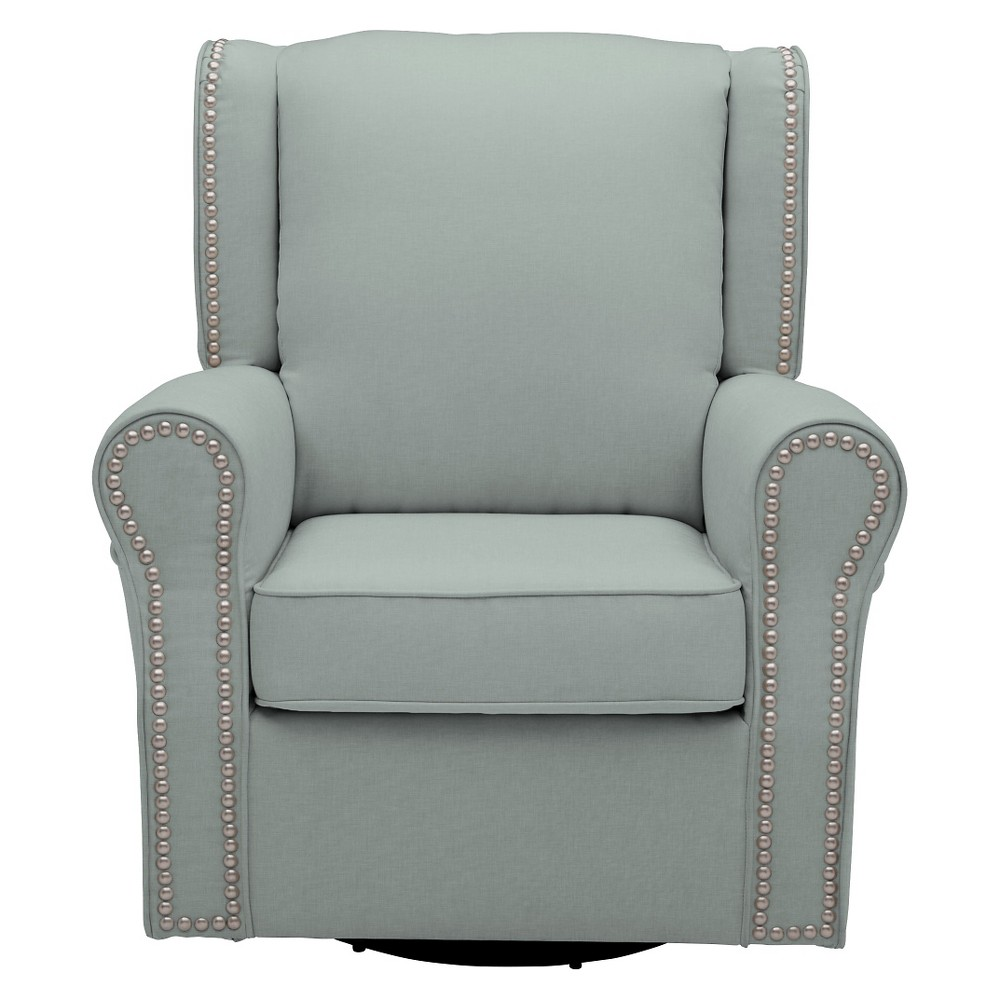 Delta Children Middleton Nursery Glider Swivel Rocker Chair - Sea Breeze Snuggle up and stay awhile in the Delta Children Middleton Upholstered Glider. Fully upholstered for supreme comfort, this cozy chair is the perfect spot to bond with baby. This nursery glider is finished with brushed nickel nail head trim for a touch of luxury. Color: Sea Breeze. Gender: Unisex. Pattern: Solid.