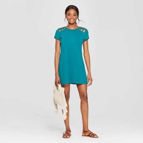 42d9189afb63 Women s Short Sleeve Lattice Shoulder Dress - Lots of Love by Speechless ( Juniors ) Jade