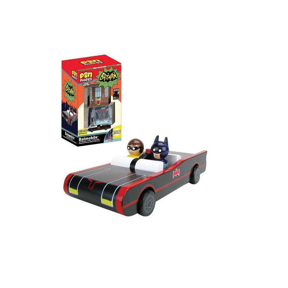 Image of Entertainment Earth DC Comics Batman TV Series Batmobile with Batman & Robin Pin Mates and Papercraft Batcave & Wayne Manor (NYCC Debut)