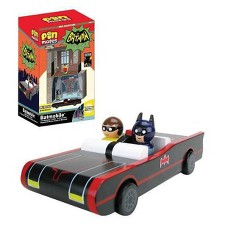 Entertainment Earth DC Comics Batman TV Series Batmobile with Batman & Robin Pin Mates and Papercraft Batcave & Wayne Manor (NYCC Debut)