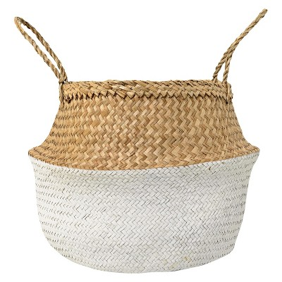 Seagrass Basket With Handles (19 )- Natural & White - 3R Studios