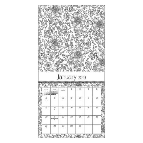 2019 wall calendar coloring book trends international
