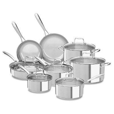 KitchenAid 14 Piece Stainless Steel Cookware Set - KCSS14
