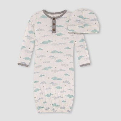 Burt's Bees Baby® Baby Boys' Little Cloud Knotted NightGown with Cap - Off-White