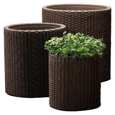 Cylinder Rattan Planter Set Of 3 - Brown - Keter