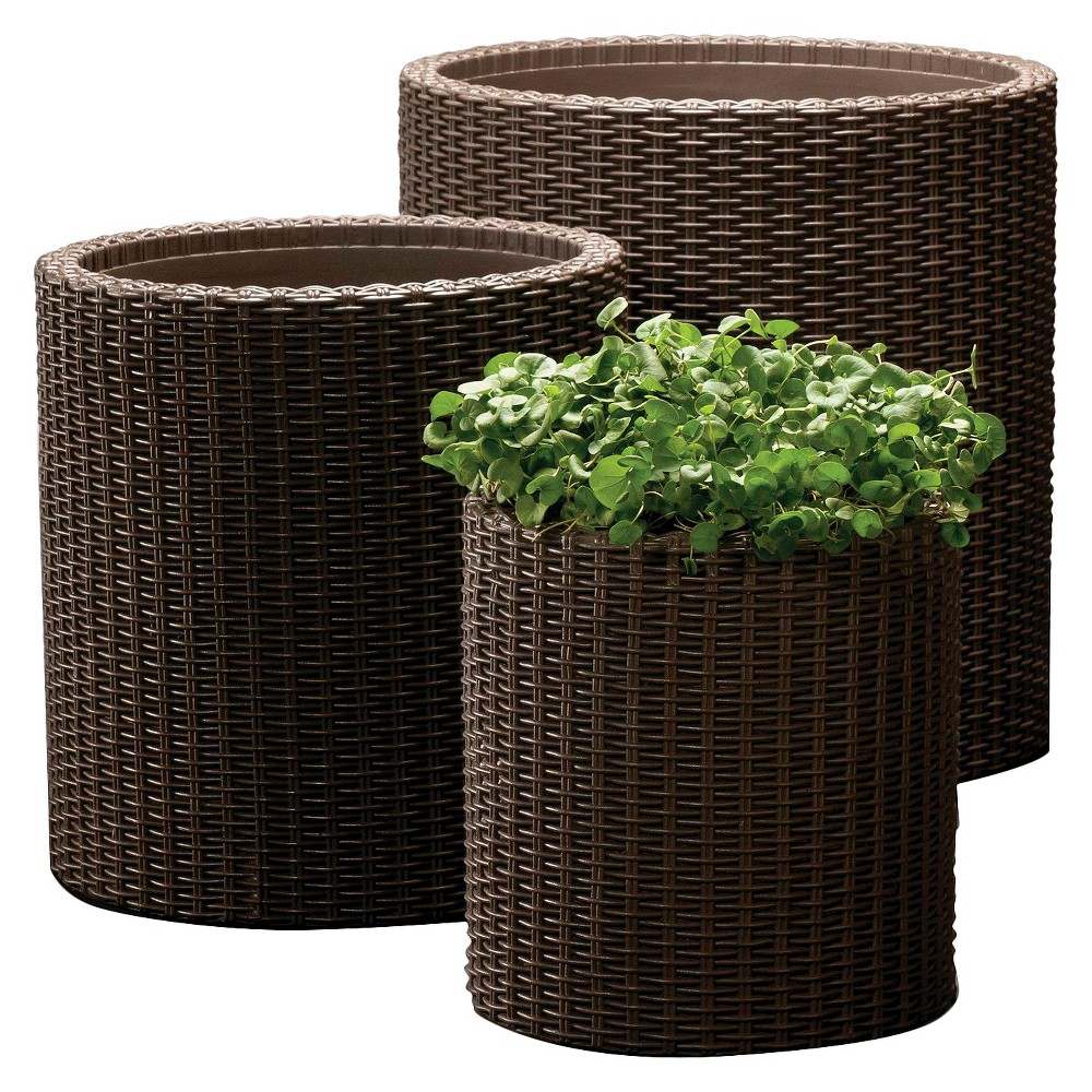 Image of Cylinder Rattan Planter Set Of 3 - Brown - Keter
