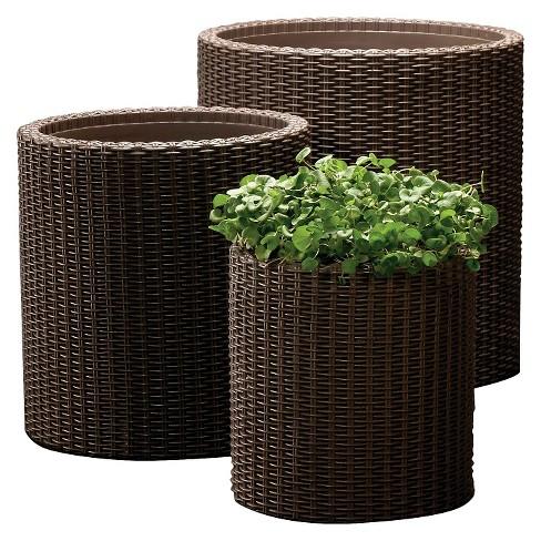 Cylinder Rattan Planter Set Of 3 Brown Keter Target