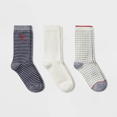 Women's Embroidered Lobster 3pk Crew Socks - A New Day™ Navy/Cream 4-10