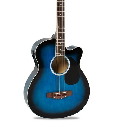 Best Choice Products 22-Fret Full Size Acoustic Electric Bass Guitar w/ 4-Band Equalizer, Adjustable Truss Rod - Blue