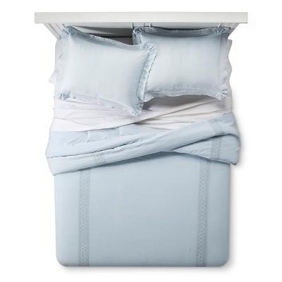 Blue Crochet Trim Linen Blend Comforter Set (Full/Queen)3-pc - Simply Shabby Chic™