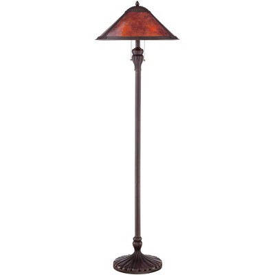 Regency Hill Mission Floor Lamp Rustic Bronze Natural Mica Shade for Living Room Reading Bedroom Office