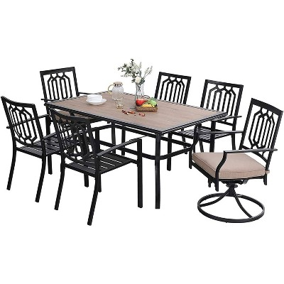 7pc Patio Dining Set with Rectangular Table, 2 Swivel Chairs with Cushions & 4 Metal Chairs - Captiva Designs
