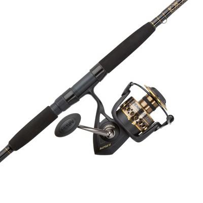 Penn BTLII8000102H Battle II HT100 Saltwater Spinning Fishing Reel and 10 Foot Aluminum Oxide Rod Combo, Bloack