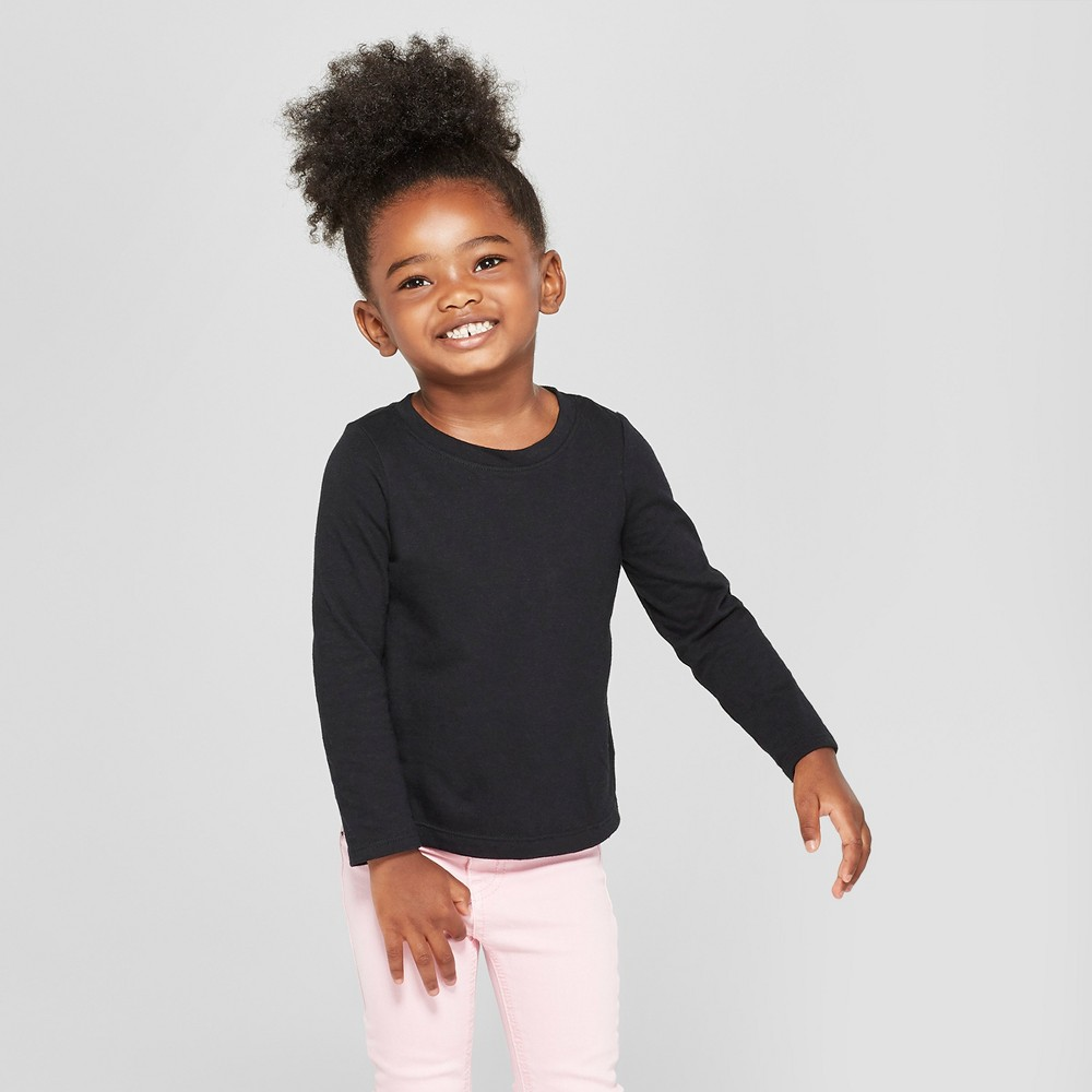 Toddler Girls' Long Sleeve T-Shirt - Cat & Jack Black 2T