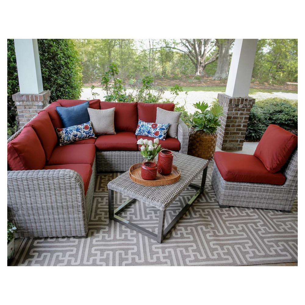 Forsyth 5pc Wicker Corner Sectional - Red - Leisure Made