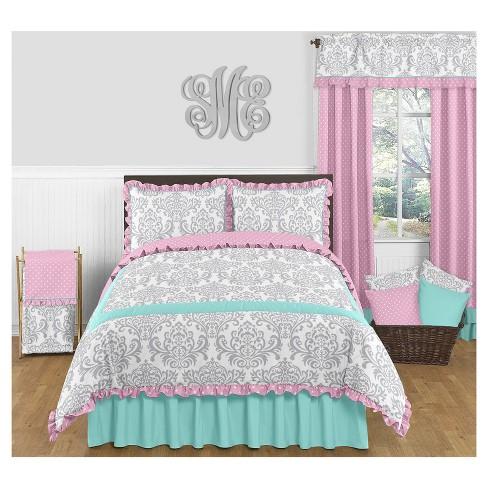 . Turquoise   Pink Skylar Comforter Set  Full Queen    Sweet Jojo Designs