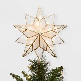 13in Lit Gold Metal and Capiz Star Tree Topper - Wondershop™