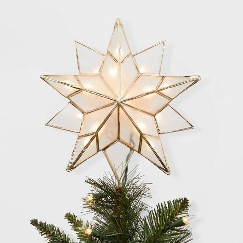 Christmas Tree Star.13in Lit Gold Metal And Capiz Star Tree Topper Wondershop