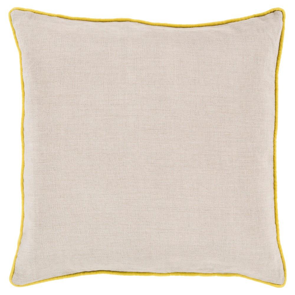 Lemon (Yellow) Bordered Solid Throw Pillow 22