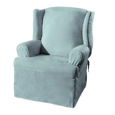Soft Suede Wing Chair Slipcover Smoke Blue - Sure Fit