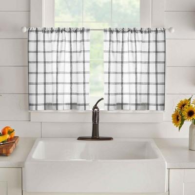 Farmhouse Living Double Windowpane Plaid Tier Set of 2 - Elrene Home Fashions