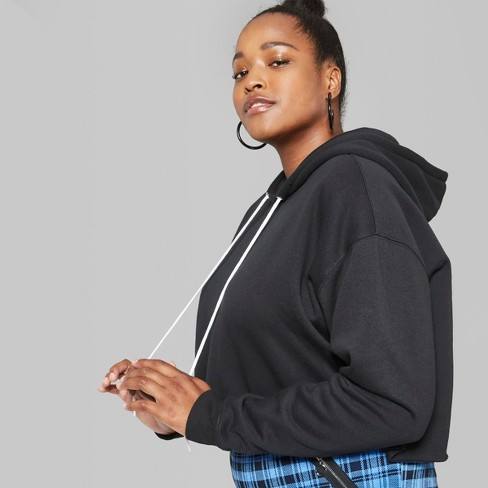 0ca5e3d39138a Women s Plus Size Cropped Hoodie - Wild Fable™ Black   Target
