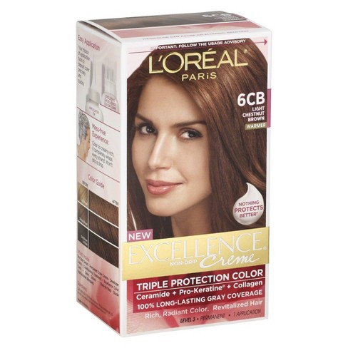 L'Oreal Paris Excellence Triple Protection Permanent Hair Color - 6CB Light Chestnut Brown - 1 Kit - image 1 of 4