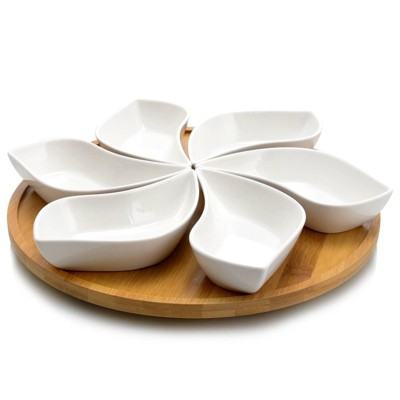 7pc Stoneware Beautiful Flower Party Serving Set White - Elama