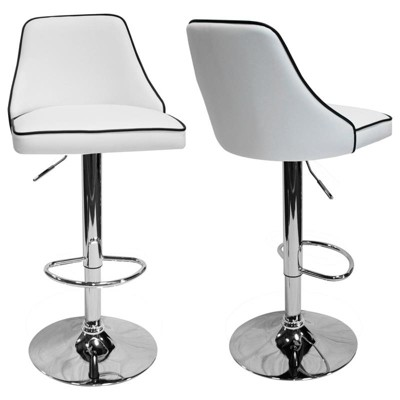 Aaron Presley Faux Leather Adjustable Swivel Bar Stool in White (Set of 2) - Best Master Furniture