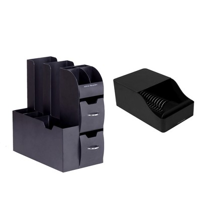 MIND READER 2-Piece Combo Kit for Coffee Stations - Condiments Organizer for Coffee Pod Capsules Machines (BLACK)