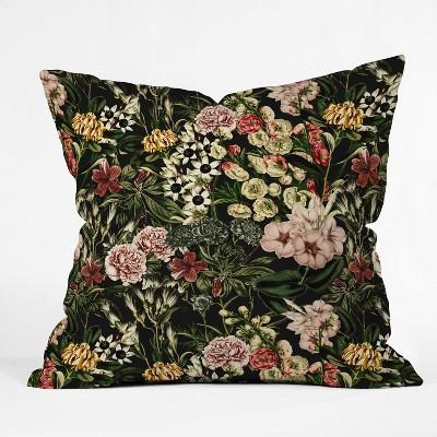 Marta Barragan Camarasa Dark Bloom Throw Pillow Black - Deny Designs