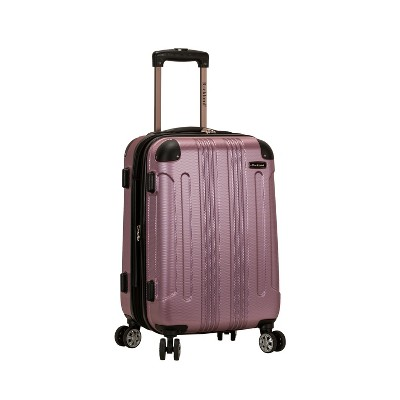 """Rockland Sonic 20"""" Expandable Hardside Carry On Spinner Suitcase - Pink"""