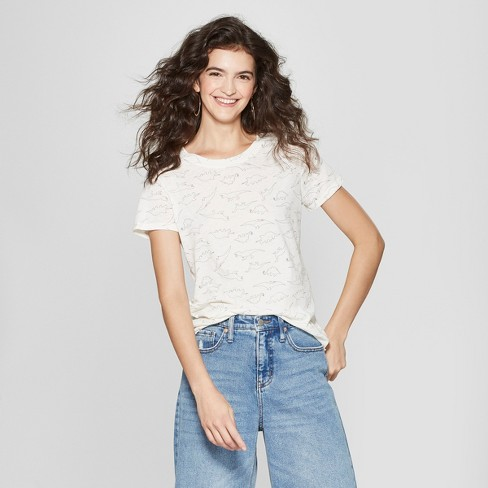 90e21004206 Women s Short Sleeve Dinosaur Outline Print T-Shirt - Zoe+Liv (Juniors )  Ivory