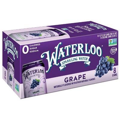 Waterloo Grape Sparkling Water - 8pk/12 fl oz Cans