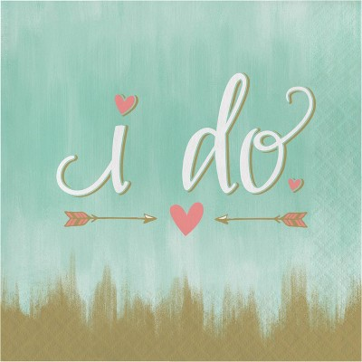 """48ct """"I Do"""" Disposable Napkins Mint Green"""