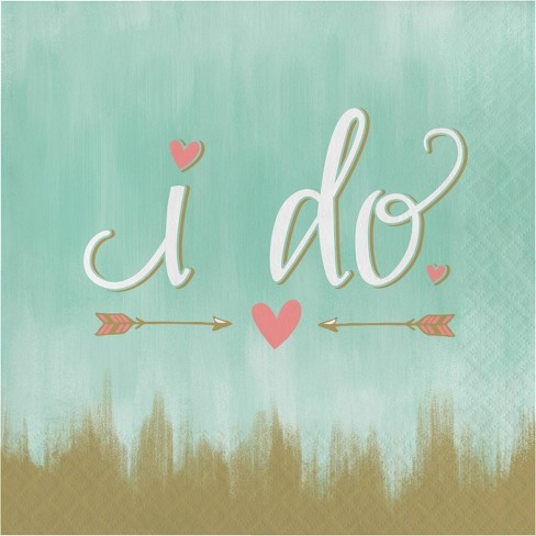 """48ct """"I Do"""" Disposable Napkins Mint Green - image 1 of 2"""