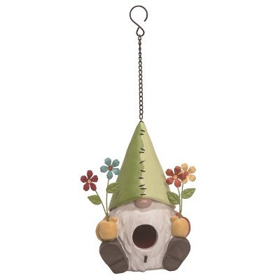 Transpac Resin 8 in. Multicolor Spring Gnome with Flowers Birdhouse