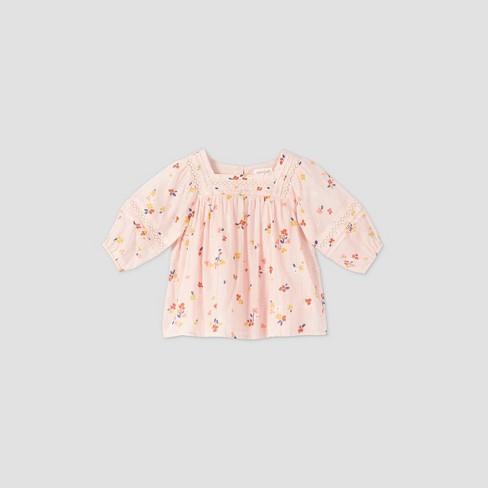 Toddler Girls' Floral Lace 3/4 Sleeve Blouse - Cat & Jack™ Light Pink - image 1 of 2