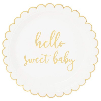 """Sparkle and Bash 48-Pack Hello Sweet Baby Disposable Paper Plates 9"""" Baby Shower Party Supplies"""